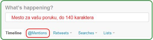 Twitter - glavni ekran