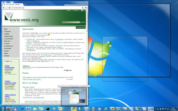 Windows 7: Aero Peek opcija