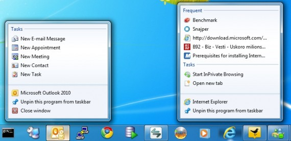 Windows 7: Taskbar jumplist