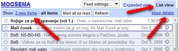 Google Reader - podešavanje čitanja