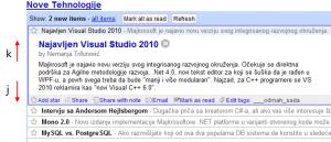 Google Reader - čitanje teksta (klikni za veću sliku)