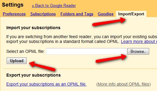 Google Reader - uvoz liste blogova preko OPML datoteke