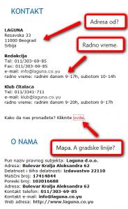 Laguna: kontakt podaci (klikni za veću sliku)