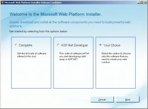 Microsoft Web Platform Installer - prvi korak (klikni za veću sliku)