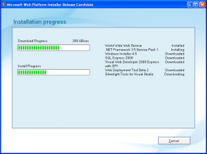 Microsoft Web Platform Installer - instalacija (klikni za veću sliku)