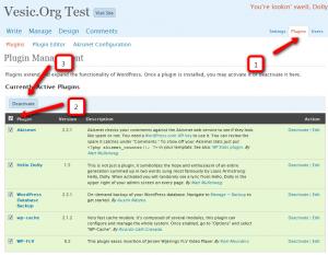 WordPress: isključivanje svih plugina (klikni za veću sliku)