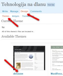 WordPress: aktiviranje teme (klikni za veću sliku)