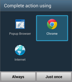 Android: Chrome as default browser