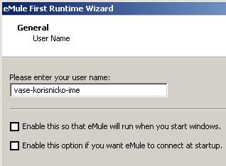 eMule - Izbor korisničkog imena