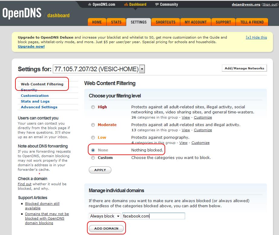OpenDNS: upravljanje sadržajem