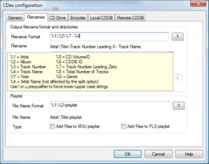CDEx - Podešavanja: Filenames