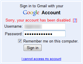 Google Disabled My Account