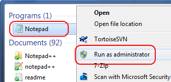 Notepad: Run as Administrator