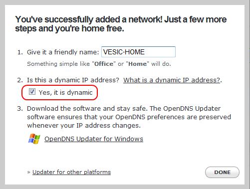 OpenDNS - definisanje kućne mreže