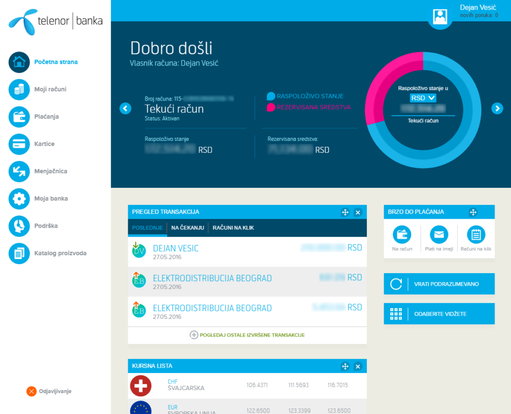 Telenor banka - web interfejs