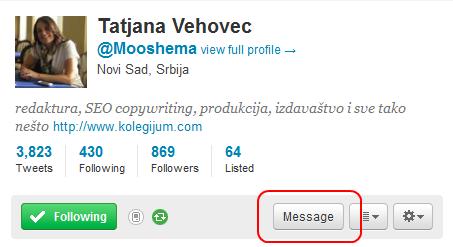 Twitter - privatne poruke preko profila korisnika