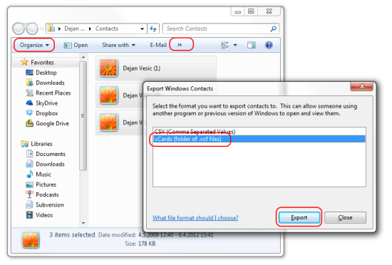 Import multiple VCF contacts into Gmail with Windows 7