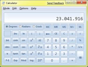 Windows 7 - Kalkulator - naučni mod (klikni za veću sliku)