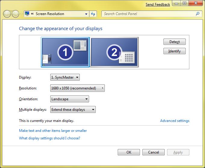 Windows 7 - rad sa više monitora (klikni za veću sliku)
