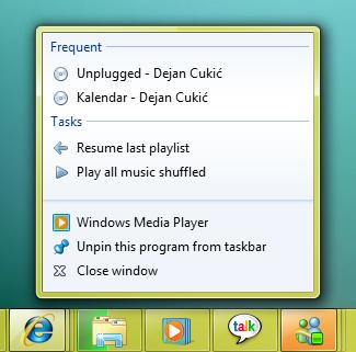 Windows 7 Taskbar - desni klik na WMP