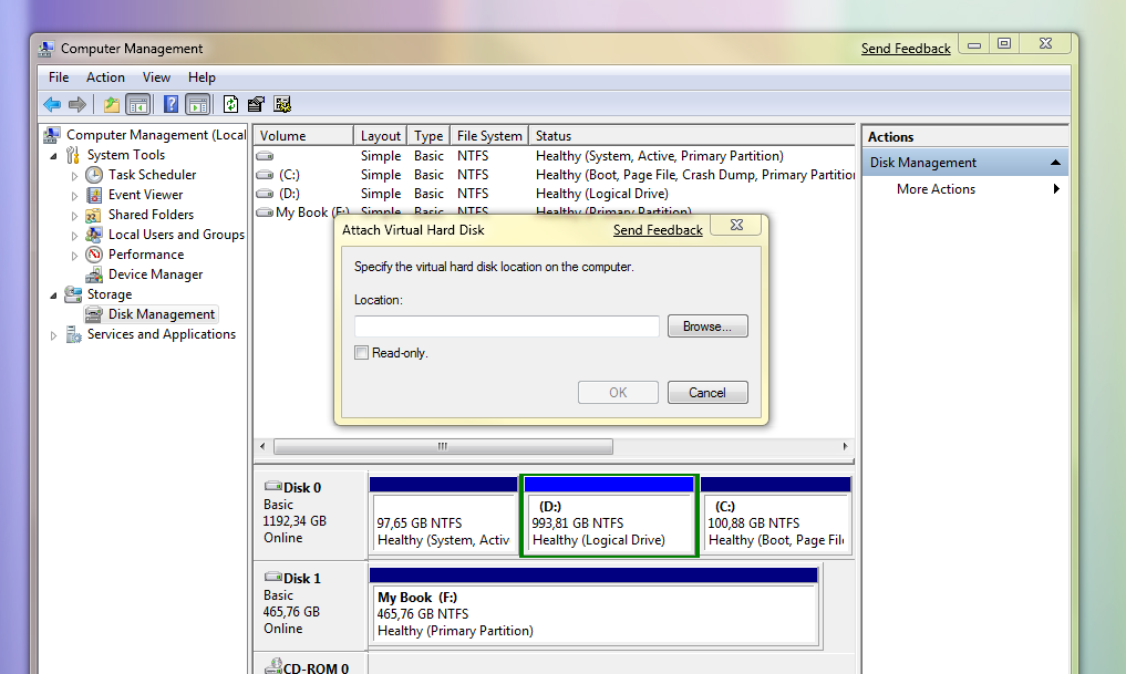 Windows 7 - Rad sa VHD (klikni za veću sliku)