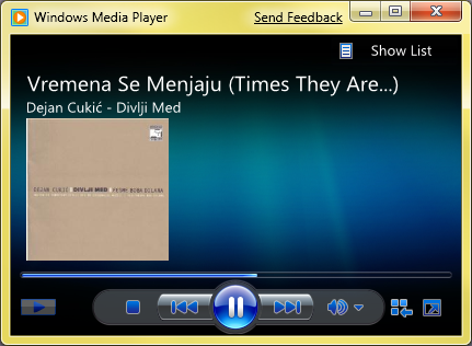 Windows 7 - Windows Media Player 12 (klikni za veću sliku)